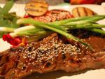 American Spicy Plum Sauce Grilled Short Ribs with Grilled Fresh Plums Dinner