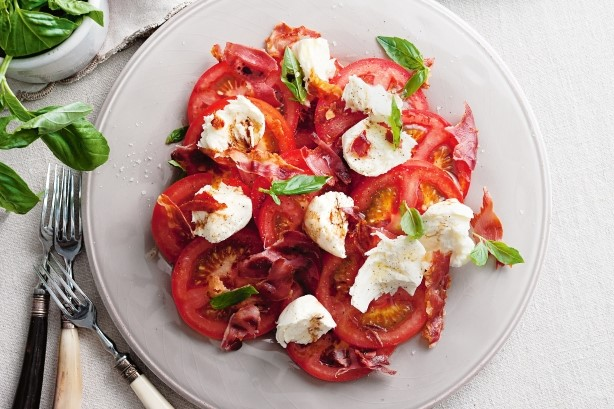 Italian Caprese Salad With Prosciutto Recipe Appetizer