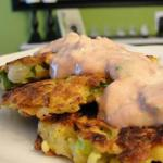 American Jicama-potato Skillet Cakes with Sour Cream Salsa Appetizer
