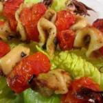 American Brochettes of Squid and Cherry Tomatoes Appetizer
