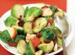 Panseared Brussels Sprouts with Apples Bacon Shallots and Rosemary recipe