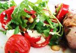 British Goats Cheese Salad With Tomatoes Peppers and Rocket Appetizer