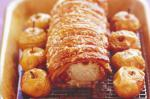 American Roast Loin Of Pork With Crispy Crackling And Roasted Apples Recipe Dinner