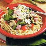 British Linguine With Ham and Asparagus Appetizer