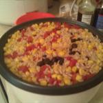 British Rice Cooker Brown Rice with Black Beans Tomatoes and Corn Dinner