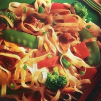 Canadian Stir Fried Chicken with Rice Noodles Dinner