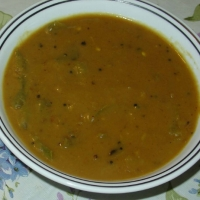 Indian South Indian Hot Toor Dal Soup with Vegetables Sambar Soup