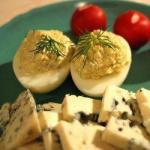 American with Blue Cheese Stuffed Eggs Appetizer