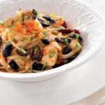 Spanish Aromatic Pasta with Elegant Restaurant and Spanish Olives Appetizer