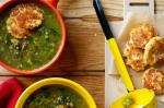British Pea And Lentil Soup With Cheese Fritters Recipe Appetizer