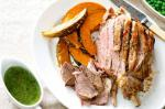 Canadian Roast Lamb With Pumpkin And Peas Recipe Dinner