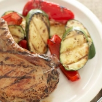Serbian Grilled Pork Chops with Vegetables BBQ Grill