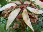 British Warm Spinach and Pear Salad With Bacon Dressing Appetizer