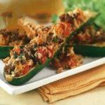 American Zucchini Stuffed with Rice and Meat Dinner