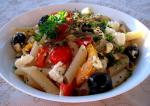 American Penne Pasta With Feta and Summer Vegetables Dinner