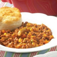 British Beef Stew with Biscuits Dinner