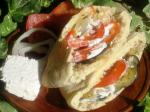 American Roasted Vegetable Pita With Creamy Feta Dressing Appetizer