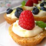 American Mini Fruit Tarts Filled with a Lemon Curd Mousse and a Shortbread Crust Dessert