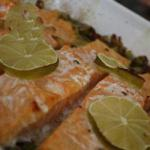 American Salmon on Bed of Leeks Appetizer