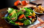 American Spinach Salad with Prosciutto and Persimmon Recipe Appetizer