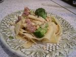 American Pappardelle With Pancetta Broccoli and Pine Nuts Dinner