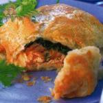 Canadian Puff Pastry Dough Packets with Salmon and Spinach Appetizer