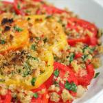 American Gratineed Tomatoes with Asiago and Fresh Herbs BBQ Grill
