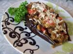 American Stuffed Eggplant With Cheese and Tomatoes Dessert