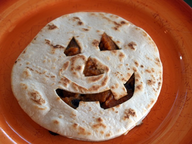 American Jack o Lantern Quesadillas with Chipotlemaple Pumpkin and Black Beans Appetizer