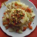 American filled Kohlrabi with Tomatoes and Sheep Cheese Dinner
