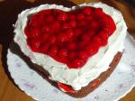 American Heart Shaped Chocolate  Cherries  Cream Cake Dessert