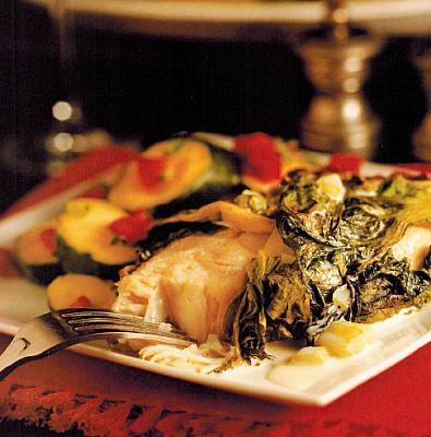 Canadian Baked Halibut Wrapped In Lettuce Leaves Appetizer