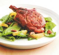 Australian Orange-glazed Pork Chops with Spinach and Pecan Salad Dinner
