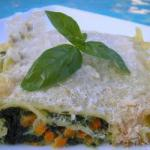 American Lasagna with Pesto Sauce and Season Vegetables Dinner