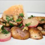 American Lemon Thyme Infused Mushrooms with Backed Radish Appetizer