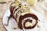 American Chocolate Honeycomb Roulade With White Chocolate Sauce Recipe Dessert