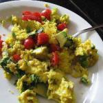 American Scrambled Eggs with Spinach Tomato and Mushrooms Appetizer