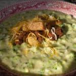American Broccoli and Cheese Soup with Croutons Soup