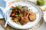 American Crumbed Lamb Cutlets With Pumpkin Salad and Pesto Recipe Dinner