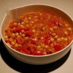 British Poriyal Hindu stew of Chickpeas and Red Peppers Appetizer