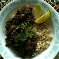 Indian Cuban Black Beans with Rice Dinner
