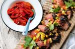 American Skirt Steak With Corn Salsa And Roasted Capsicum Relish Recipe Dinner