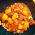 American Stew with Potatoes and Mushrooms Fast Dinner