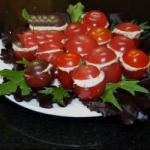 American Cherry Tomatoes Stuffed with the Cream of Salmon Appetizer