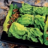 Chinese Stir-fried Beef Wraps with Smoked Tofu Appetizer