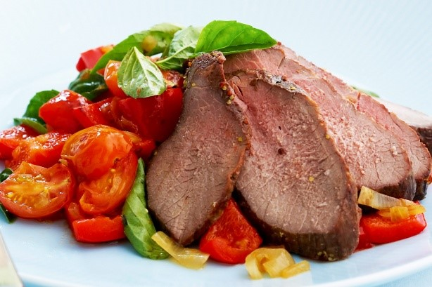 Italian Honey Mustard Mini Roast With Peperonata Recipe Dinner