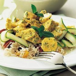 British Fruity Rice Salad with Chicken and Curry Dressing coronation Chicken Dinner