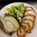 British Bacon Wrapped Mushroom and Feta Cheese Stuffed Deep Fried Chicken Dinner