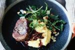 American Steak And Mash With Quince Sauce And Rocket and Parmesan Salad Recipe Drink