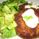 American Crab and Salmon Cake with Coriander and Lemon Dressing Appetizer